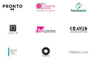 AVirtual partners logos. pronto, uber, the marketing centre, task rabbit, the fd centre, craved, world first, macquare, hassle.com
